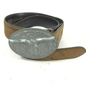 ARIAT 32 Belt Leather Brown Oval Longhorn Buckle